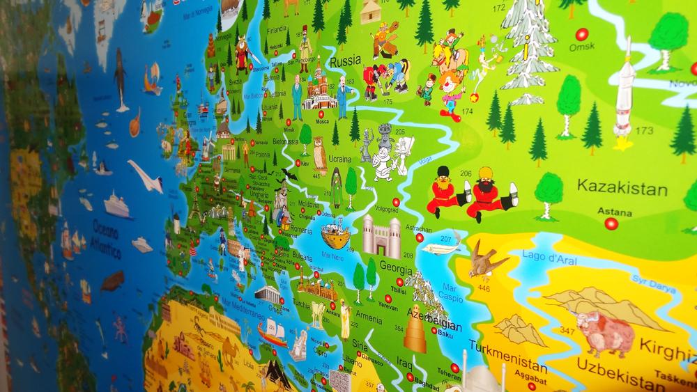 Mappa Geografica Del Mondo Illustrata Per Bambini Brickone