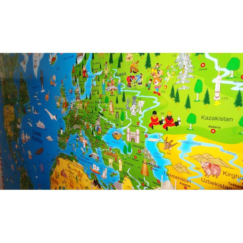 Cartina Mondo Lego.Cartina Illustrata Del Mondo Mappa In Lingua Italiana Brickone Giocattoli Di Qualita
