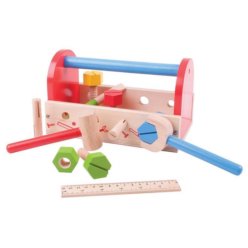 cassetta degli attrezzi in legno - bigjigs - brickone - giocattoli