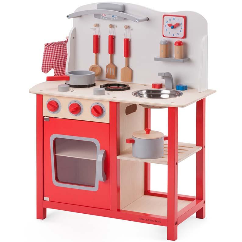 GRANDE CUCINA IN LEGNO Kitchenette - RED - New Classic Toys ...